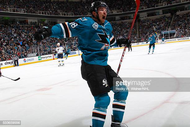 Tomas Hertl of the San Jose Sharks celebrates after scoring a goal against the St Louis Blues in Game Three of the Western Conference Finals during...