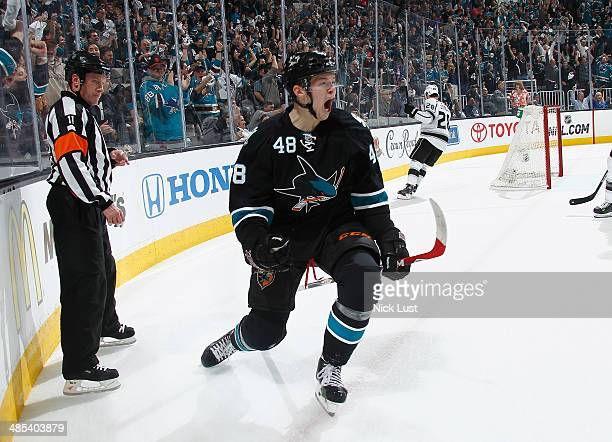 Tomas Hertl of the San Jose Sharks celebrates his first career playoff goal against the Los Angeles Kings in Game One of the First Round of the 2014...