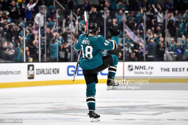 Tomas Hertl of the San Jose Sharks celebrates his goal to take the game into overtime against the New York Rangers at SAP Center on October 30 2018...