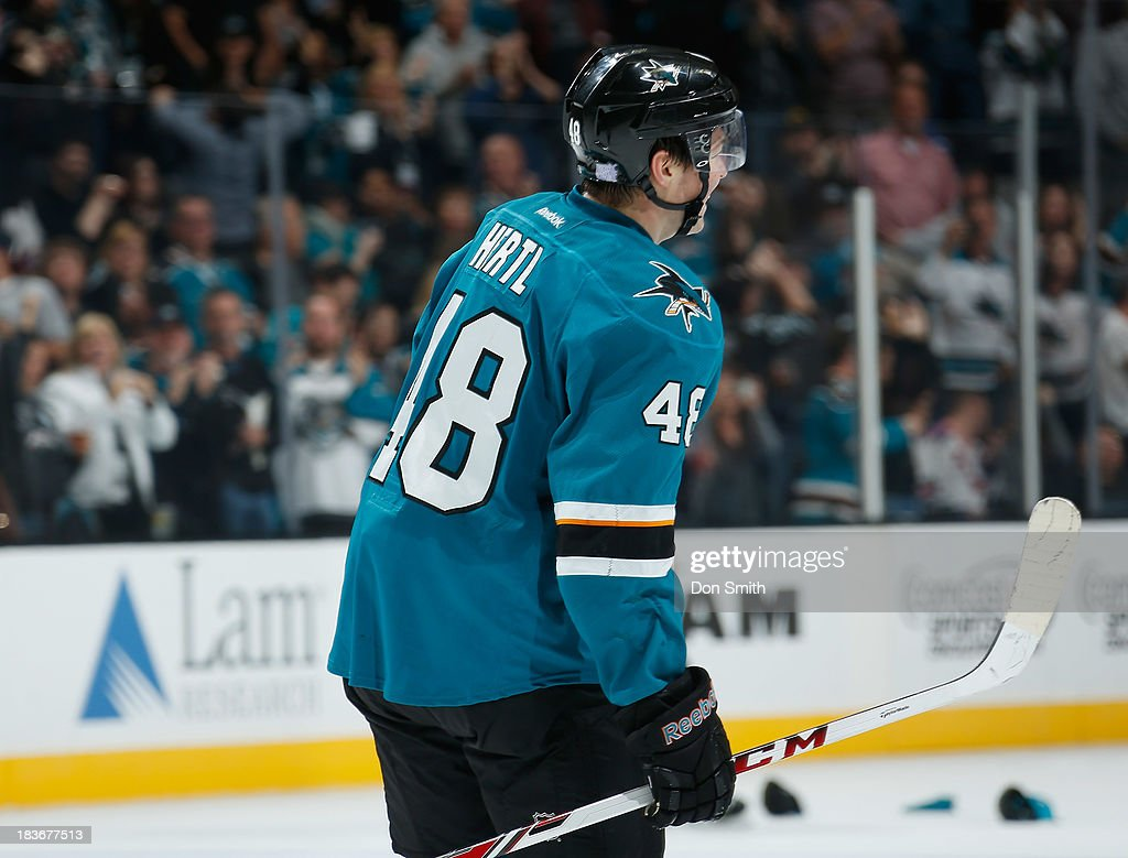 Tomas Hertl #48 of the San Jose Sharks celebrates his hat trick against the New York Rangers during an NHL game on October 8, 2013 at SAP Center in San Jose, California.
