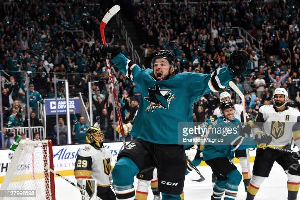 Tomas Hertl of the San Jose Sharks celebrates scoring a goal against the Vegas Golden Knights in Game Five of the Western Conference First Round...