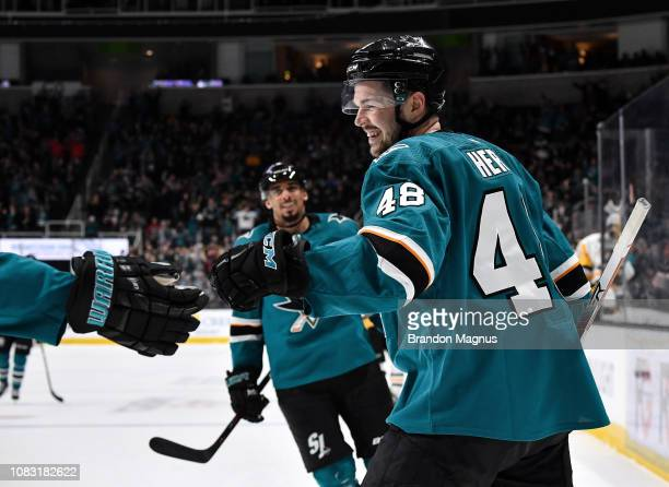 Tomas Hertl of the San Jose Sharks celebrates scoring a hat trick against the Pittsburgh Penguins at SAP Center on January 15 2018 in San Jose...