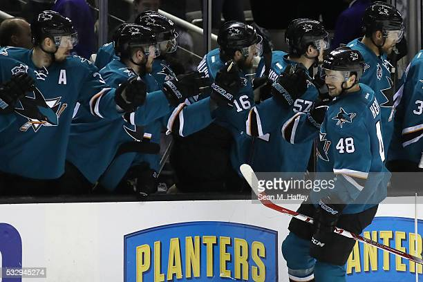 Tomas Hertl of the San Jose Sharks celebrates with teammates after his second goal in game three of the Western Conference Finals against the St...