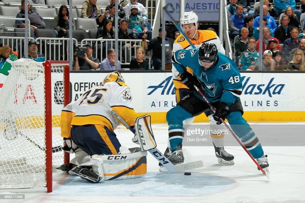 Tomas Hertl #48 of the San Jose Sharks follows the puck in as Pekka Rinne #35 of the Nashville Predators makes a save at SAP Center on November 1, 2017 in San Jose, California.