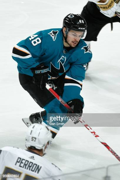 Tomas Hertl of the San Jose Sharks handles the puck in Game Six of the Western Conference Second Round against the Vegas Golden Knights during the...