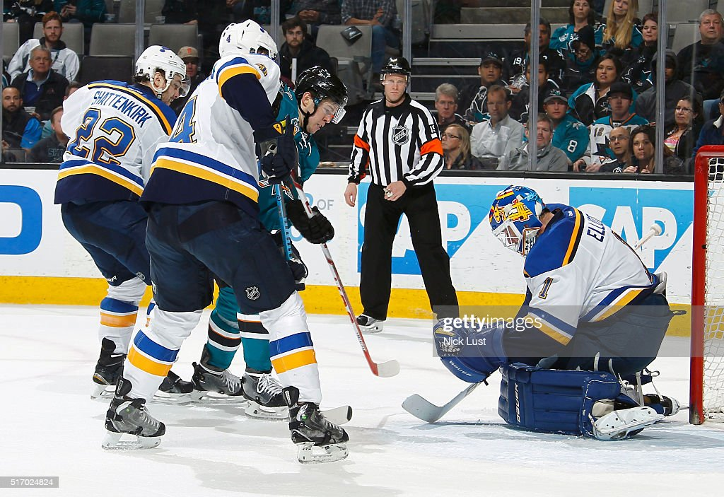 Tomas Hertl #48 of the San Jose Sharks has another shot blocked against Brian Elliott #1, Kevin Shattenkirk #22, and Carl Gunnarsson #4 of the St. Louis Blues during a NHL game at the SAP Center at San Jose on March 22, 2016 in San Jose, California.