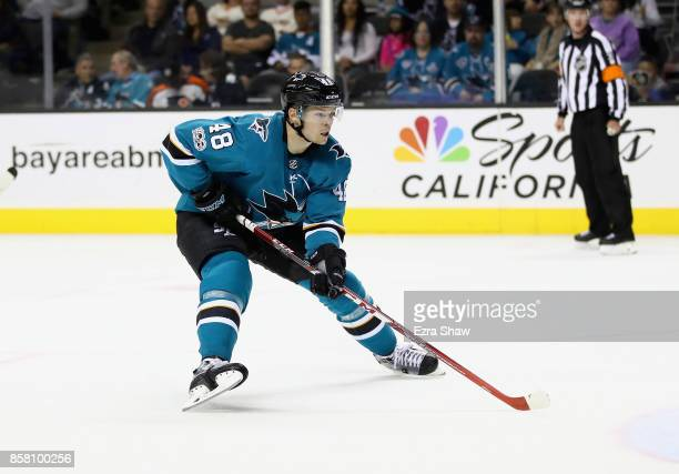 Tomas Hertl of the San Jose Sharks in action against the Philadelphia Flyers at SAP Center on October 4 2017 in San Jose California