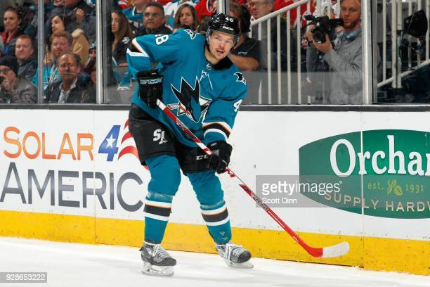 Tomas Hertl of the San Jose Sharks looks during a NHL game against the Chicago Blackhawks at SAP Center on March 1 2018 in San Jose California