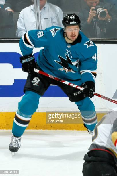 Tomas Hertl of the San Jose Sharks looks in Game Six of the Western Conference Second Round against the Vegas Golden Knights during the 2018 NHL...