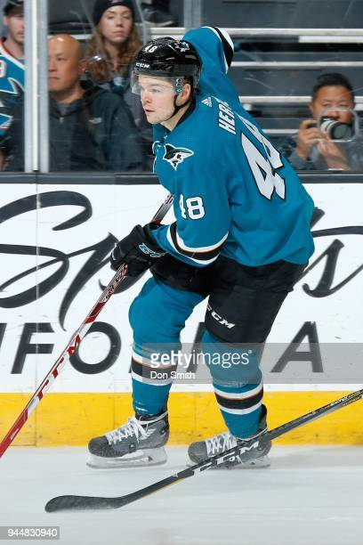 Tomas Hertl of the San Jose Sharks looks on during a NHL game against the Minnesota Wild at SAP Center on April 7 2018 in San Jose California Tomas...