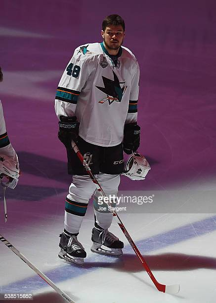 Tomas Hertl of the San Jose Sharks looks on during the national anthem during Game Two of the 2016 NHL Stanley Cup Final against the Pittsburgh...