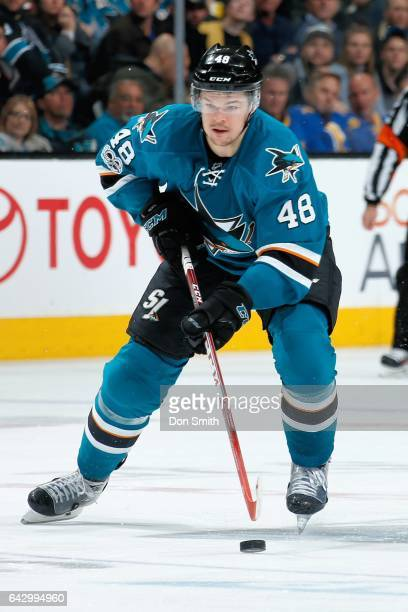 Tomas Hertl of the San Jose Sharks moves the puck during a NHL game against the Florida Panthers at SAP Center at San Jose on February 15 2017 in San...