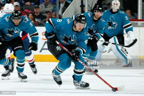 Tomas Hertl of the San Jose Sharks moves the puck during a NHL game against the Washington Capitols at SAP Center on March 10 2018 in San Jose...
