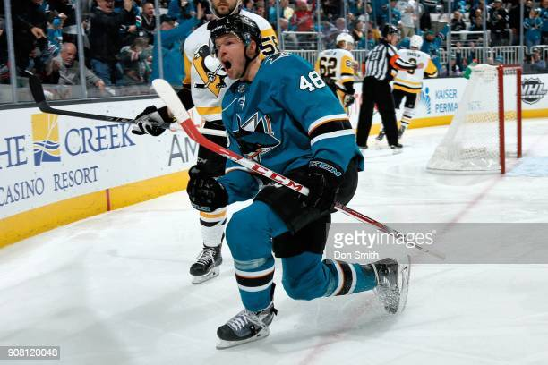 Tomas Hertl of the San Jose Sharks reacts after scoring a goal in the third period against the Pittsburgh Penguins at SAP Center on January 20 2018...