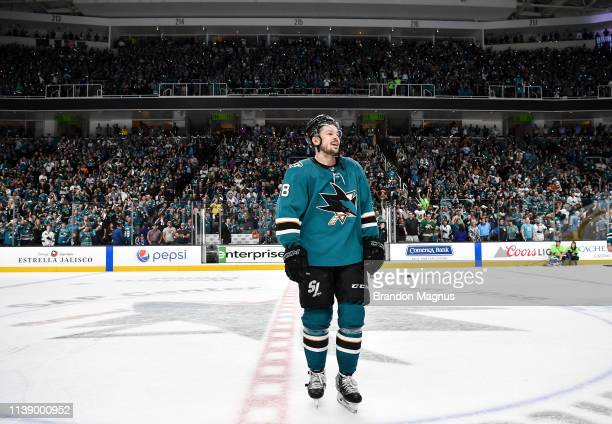 Tomas Hertl of the San Jose Sharks salutes the crowd after the win against the Vegas Golden Knights in Game Seven of the Western Conference First...