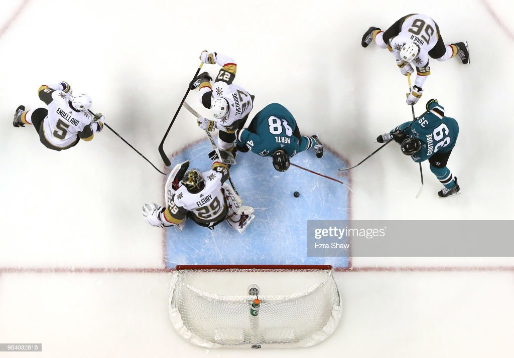 Tomas Hertl #48 of the San Jose Sharks scores a goal on Marc-Andre Fleury #29 of the Vegas Golden Knights during Game Four of the Western Conference Second Round during the 2018 NHL Stanley Cup Playoffs at SAP Center on May 2, 2018 in San Jose, California.