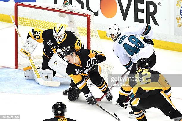 Tomas Hertl of the San Jose Sharks scores a second period goal against Matt Murray of the Pittsburgh Penguins in Game One of the 2016 NHL Stanley Cup...