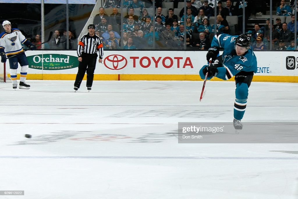Tomas Hertl #48 of the San Jose Sharks scores an empty net goal against the St. Louis Blues at SAP Center on March 8, 2018 in San Jose, California.