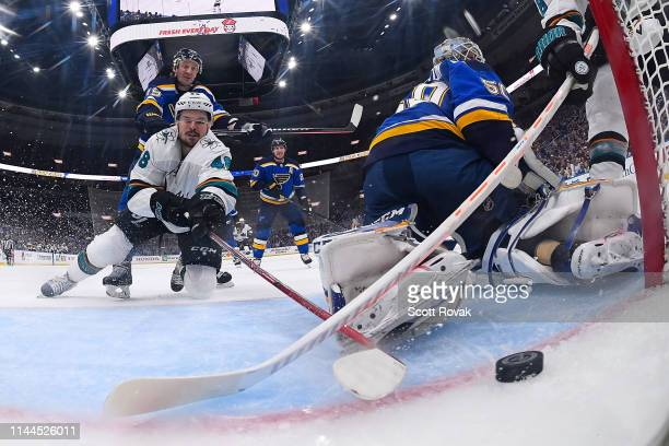 Tomas Hertl of the San Jose Sharks scores goal against the St Louis Blues in Game Four of the Western Conference Final during the 2019 NHL Stanley...