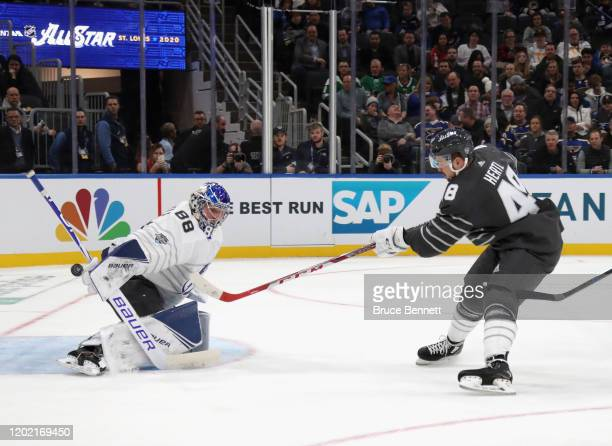 Tomas Hertl of the San Jose Sharks scores the NHL AllStar game winning goal against Andrei Vasilevskiy of the Tampa Bay Lightning in the game between...