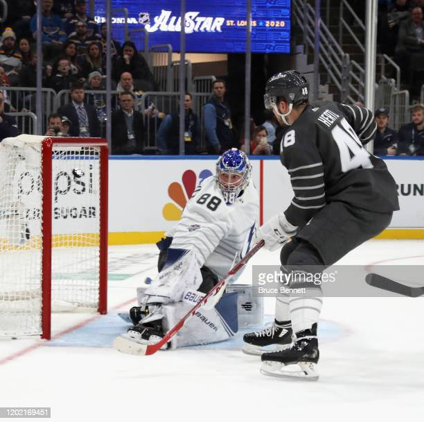 Tomas Hertl of the San Jose Sharks scores the NHL AllStar game winning goal against in the game between Atlantic Division v Pacific Division during...