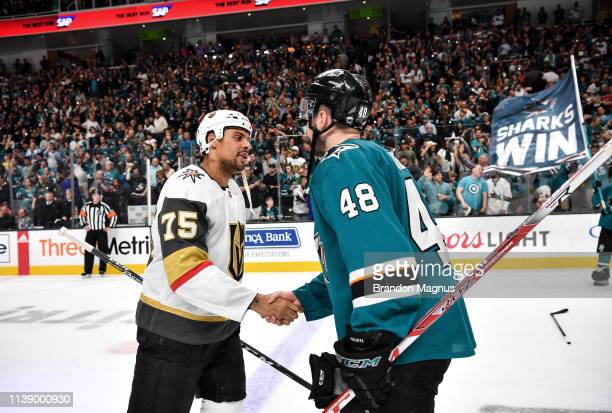 Tomas Hertl of the San Jose Sharks shakes hands with Ryan Reaves of the Vegas Golden Knights in Game Seven of the Western Conference First Round...