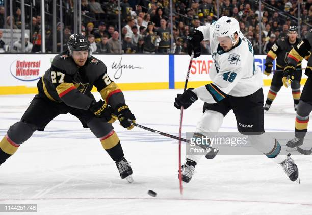Tomas Hertl of the San Jose Sharks shoots a gamewinning shorthanded goal at 1117 of the second overtime period against Shea Theodore of the Vegas...