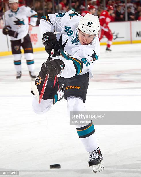 Tomas Hertl of the San Jose Sharks shoots the puck during pregame warmups before a NHL game against the Detroit Red Wings on March 26 2015 at Joe...