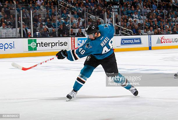 Tomas Hertl of the San Jose Sharks shoots the puck for a goal against the St Louis Blues in Game Three of the Western Conference Finals during the...