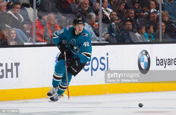 Tomas Hertl of the San Jose Sharks skates against the Anaheim Ducks at SAP Center on November 4 2017 in San Jose California