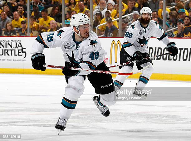 Tomas Hertl of the San Jose Sharks skates against the Pittsburgh Penguins during Game Two of the 2016 NHL Stanley Cup Final at Consol Energy Center...