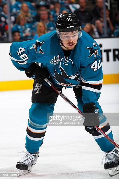 Tomas Hertl of the San Jose Sharks skates against the St Louis Blues in Game Four of the Western Conference Finals during the 2016 NHL Stanley Cup...
