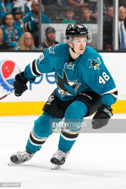 Tomas Hertl of the San Jose Sharks skates during a NHL game against the Nashville Predators at SAP Center at San Jose on March 11 2017 in San Jose...