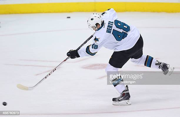 Tomas Hertl of the San Jose Sharks skates during warmup prior to the NHL game against the Los Angeles Kings at Staples Center on December 19 2013 in...
