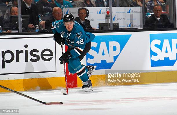 Tomas Hertl of the San Jose Sharks skates with the puck against the Los Angeles Kings in Game Four of the Western Conference Quarterfinals during the...