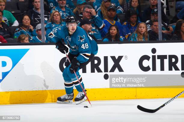 Tomas Hertl of the San Jose Sharks skates with the puck againt the Edmonton Oilers in Game Six of the Western Conference First Round during the 2017...