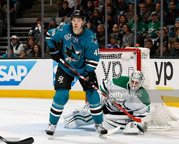 Tomas Hertl of the San Jose Sharks stands in the view of Antti Niemi of the Dallas Stars during a NHL game at the SAP Center at San Jose on January...
