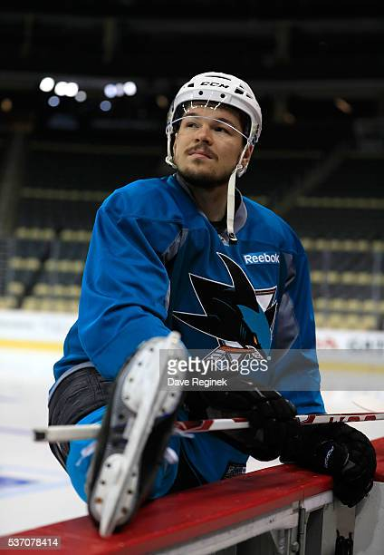 Tomas Hertl of the San Jose Sharks stretches during the pregame skate prior to Game Two of the 2016 NHL Stanley Cup Final at Consol Energy Center on...