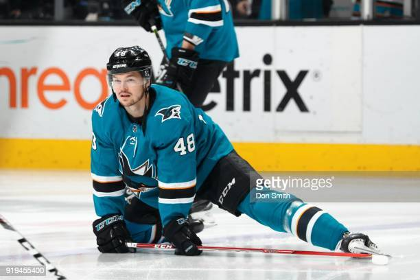 Tomas Hertl of the San Jose Sharks stretches prior to a game against the Arizona Coyotes at SAP Center on February 13 2018 in San Jose California