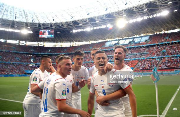 Tomas Holes of Czech Republic celebrates after scoring their side's first goal during the UEFA Euro 2020 Championship Round of 16 match between...
