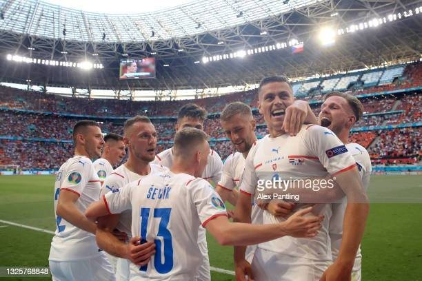Tomas Holes of Czech Republic celebrates with team mates after scoring their side's first goal during the UEFA Euro 2020 Championship Round of 16...