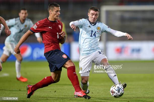 Tomas Holes of Czech Republic in action against John Fleck of Scotland during the UEFA Nations League soccer match between Czech Republic and...