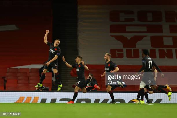 Tomas Holes of Slavia Praha celebrates with team mates after scoring their side's first goal during the UEFA Europa League Quarter Final First Leg...