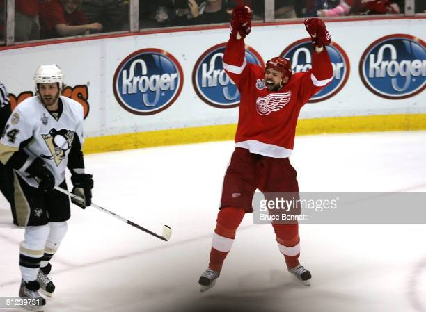 Tomas Holmstrom of the Detroit Red Wings celebrates after scoring a first period goal against the Pittsburgh Penguins during game two of the 2008 NHL...