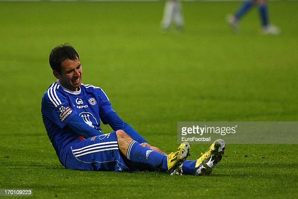 Tomas Horava of SK Sigma Olomouc in action during the Czech First League match between FK Jablonec and SK Sigma Olomouc held on May 26, 2013 at the...
