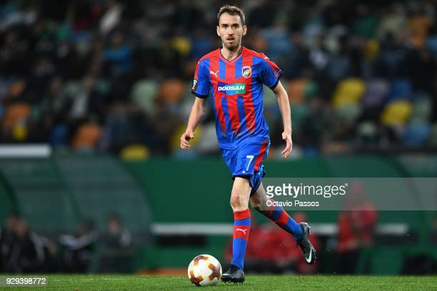 Tomas Horava of Viktoria Plzen in action during the UEFA Europa League Round of 16 first leg match between Sporting Lisbon and Viktoria Plzen at...