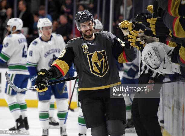 Tomas Hyka of the Vegas Golden Knights celebrates with teammates on the bench after scoring his first career NHL goal during the first period of the...