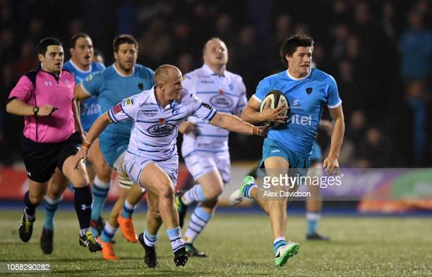 Tomas Inciarte of Uruguay makes a break during the Syft International Challenge game between Cardiff Blues and Uruguay Rugby at Cardiff Arms Park on...