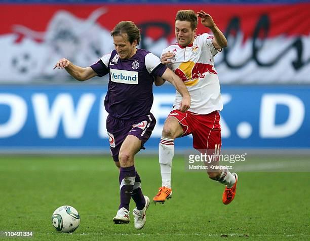 Tomas Jun of Austria Wien battles with Jakob Jantscher of Salzburg during the tipp3-Bundesliga powered by T-Mobile match between FC Red Bull Salzburg...