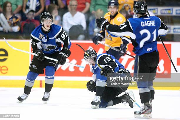 Tomas Jurco of the Saint John Sea Dogs celebrates his first period goal with teammates during the 2012 MasterCard Memorial Cup game against the...